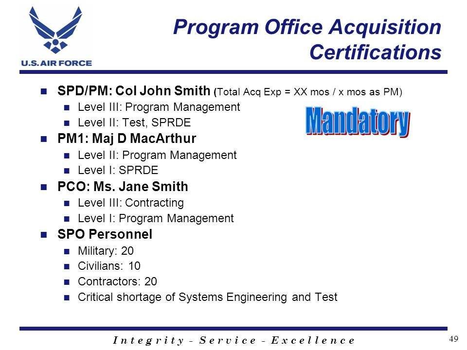 Program Office Acquisition Certifications
