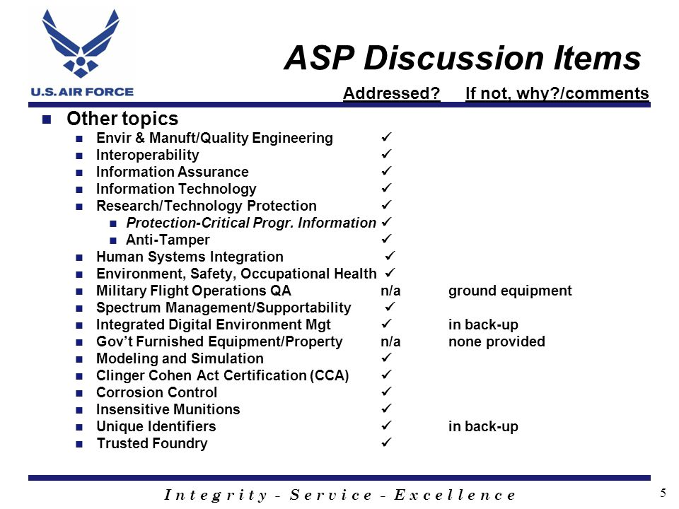 ASP Discussion Items Other topics Addressed If not, why /comments