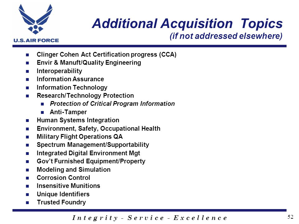 Additional Acquisition Topics (if not addressed elsewhere)