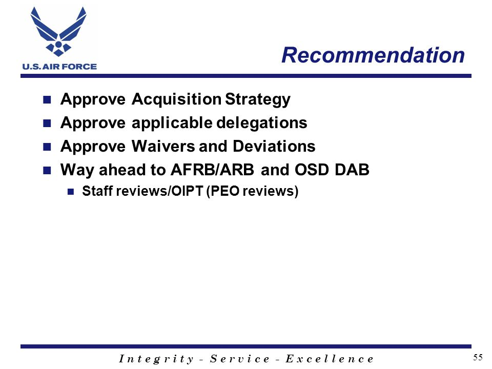 Recommendation Approve Acquisition Strategy