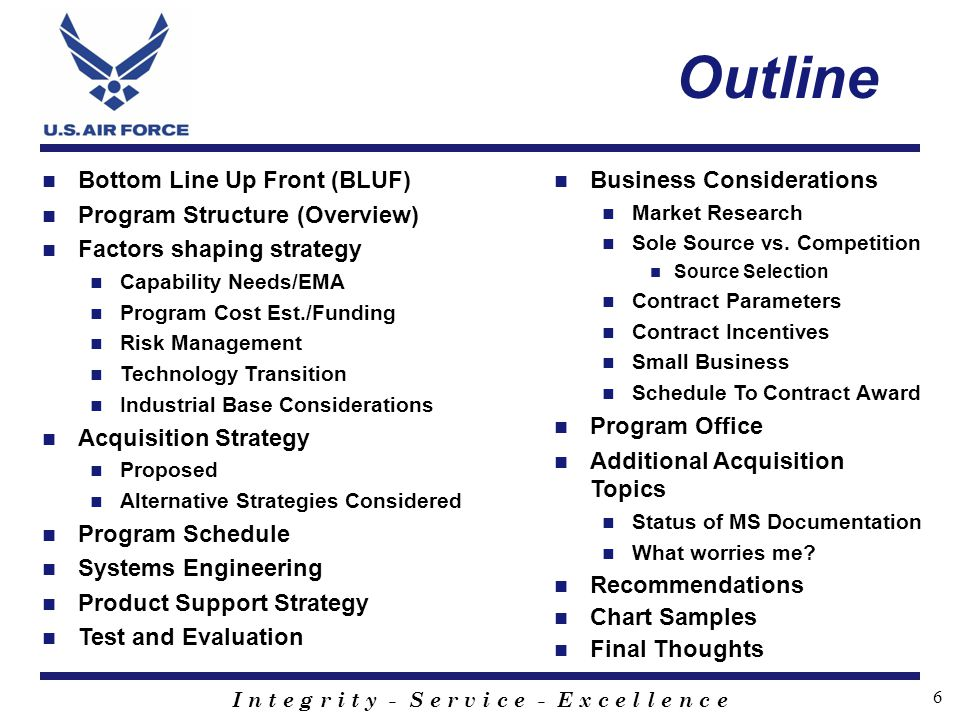 Outline Bottom Line Up Front (BLUF) Program Structure (Overview)