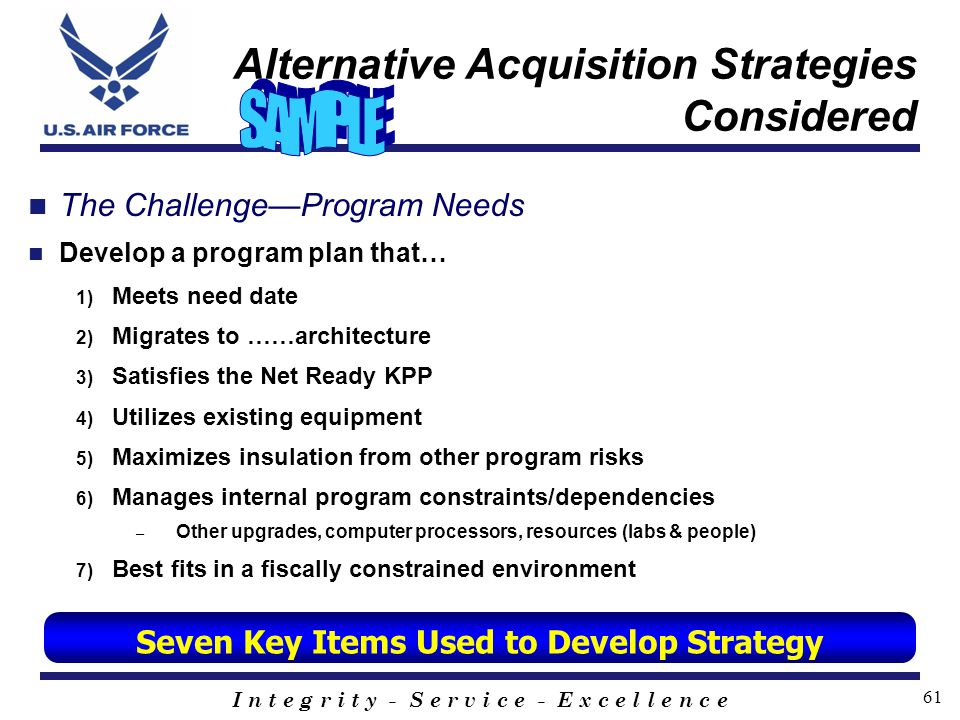 Alternative Acquisition Strategies Considered