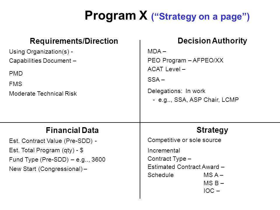Program X ( Strategy on a page ) Requirements/Direction