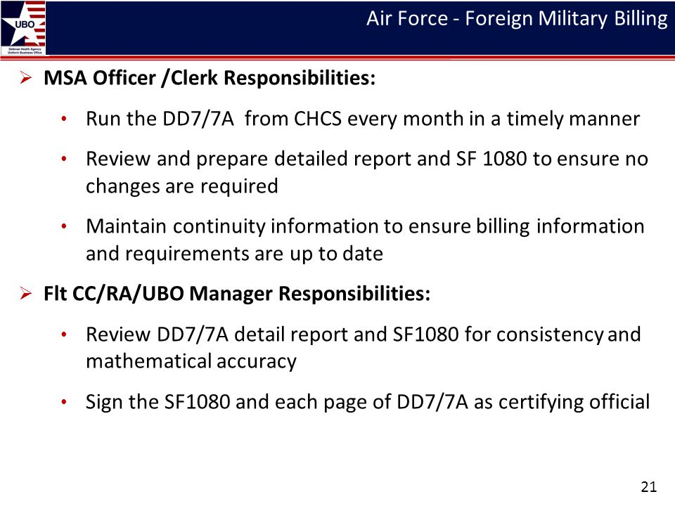 Air Force - Foreign Military Billing