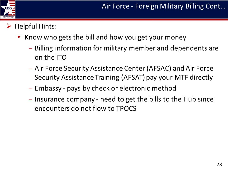 Air Force - Foreign Military Billing Cont…