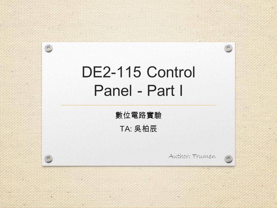 DE2-115 Control Panel - Part I