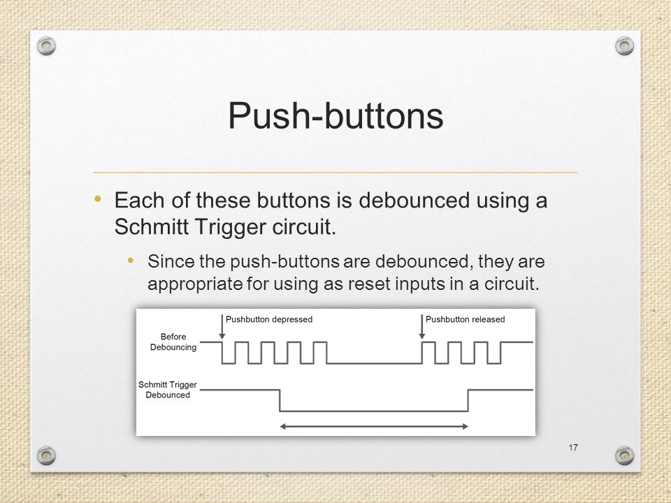 Push-buttons Each of these buttons is debounced using a Schmitt Trigger circuit.