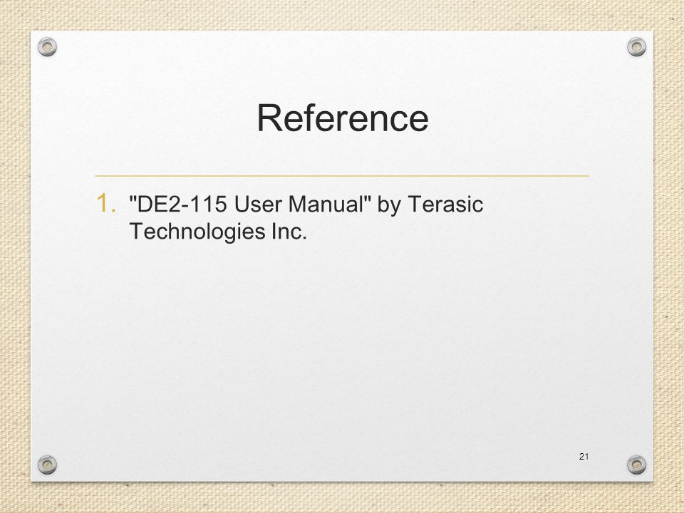 Reference DE2-115 User Manual by Terasic Technologies Inc.