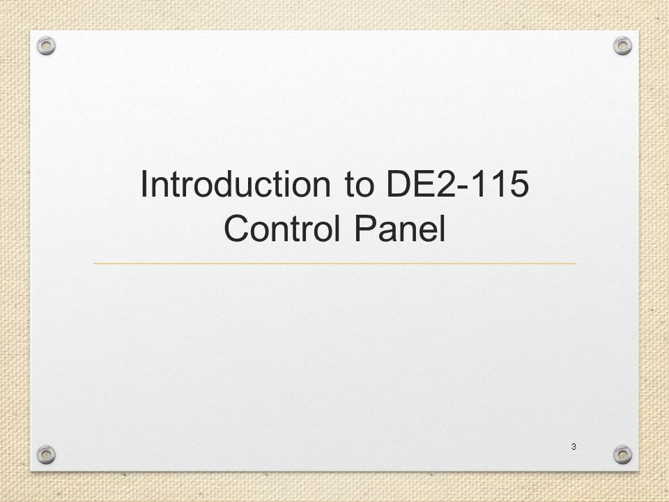 Introduction to DE2-115 Control Panel