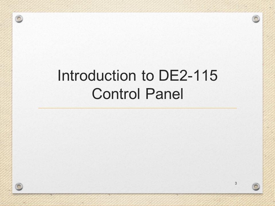 Introduction to DE2-115 Control Panel