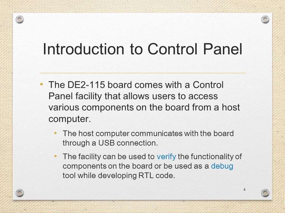 Introduction to Control Panel