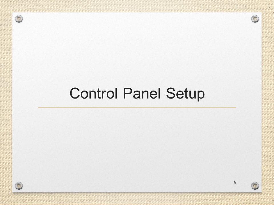 Control Panel Setup