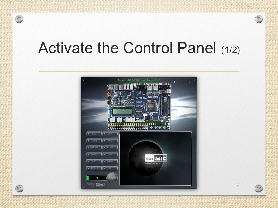 Activate the Control Panel (1/2)