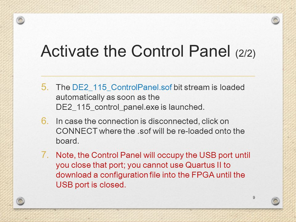 Activate the Control Panel (2/2)