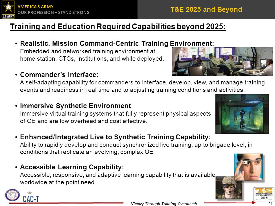 Training and Education Required Capabilities beyond 2025: