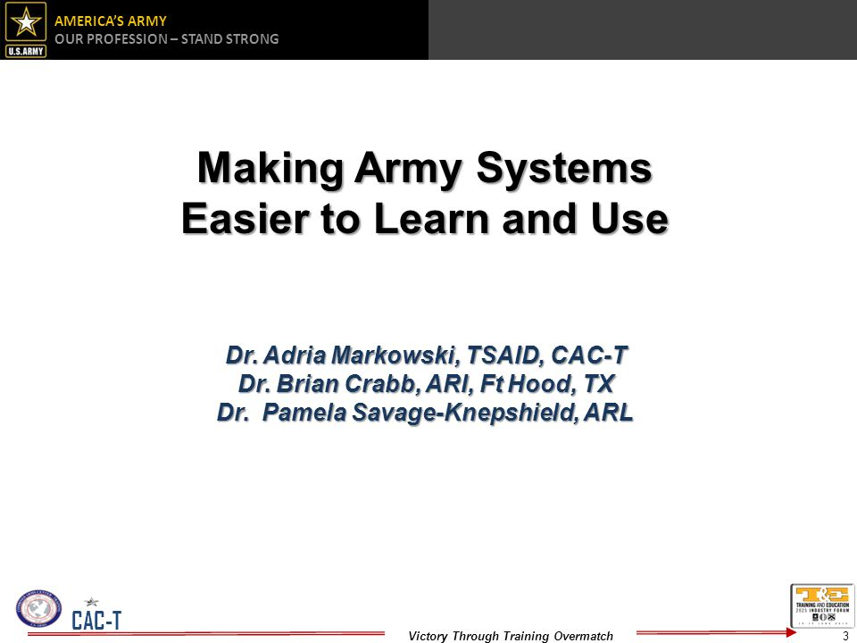 Making Army Systems Easier to Learn and Use