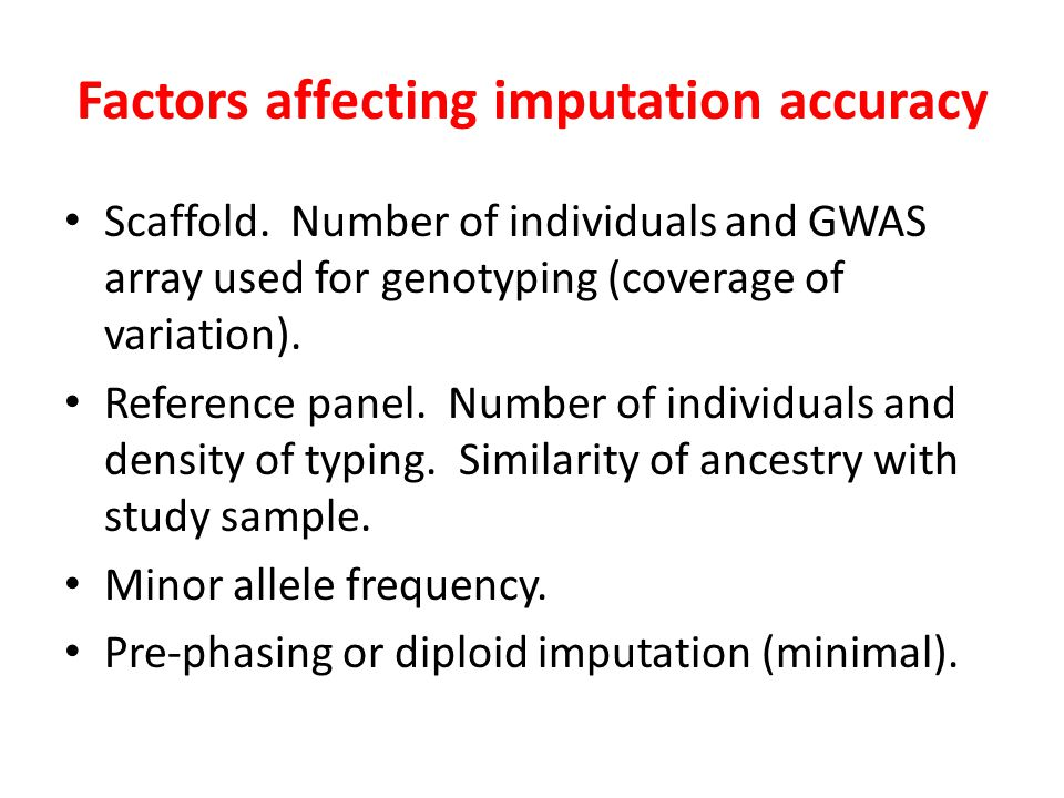 Factors affecting imputation accuracy