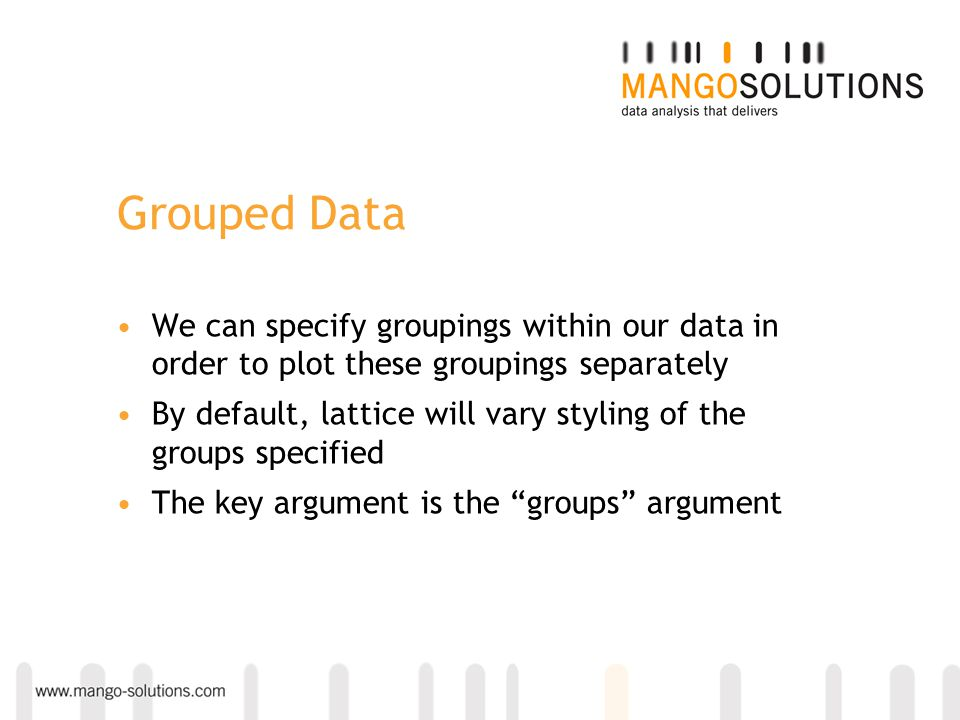 Grouped Data We can specify groupings within our data in order to plot these groupings separately.