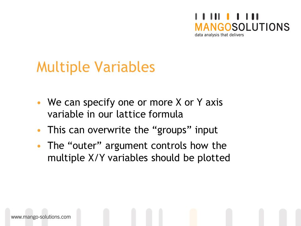 Multiple Variables We can specify one or more X or Y axis variable in our lattice formula. This can overwrite the groups input.