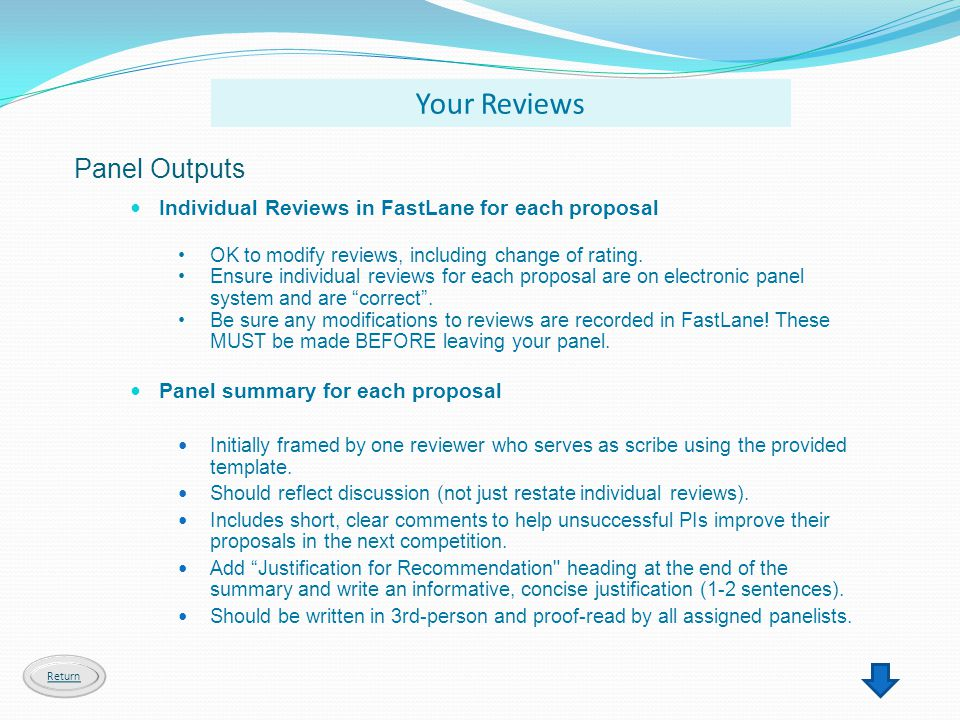 Your Reviews Panel Outputs