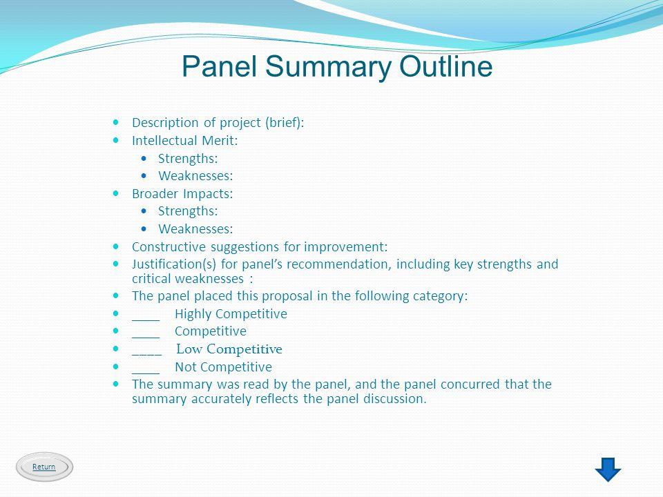 Panel Summary Outline Description of project (brief):