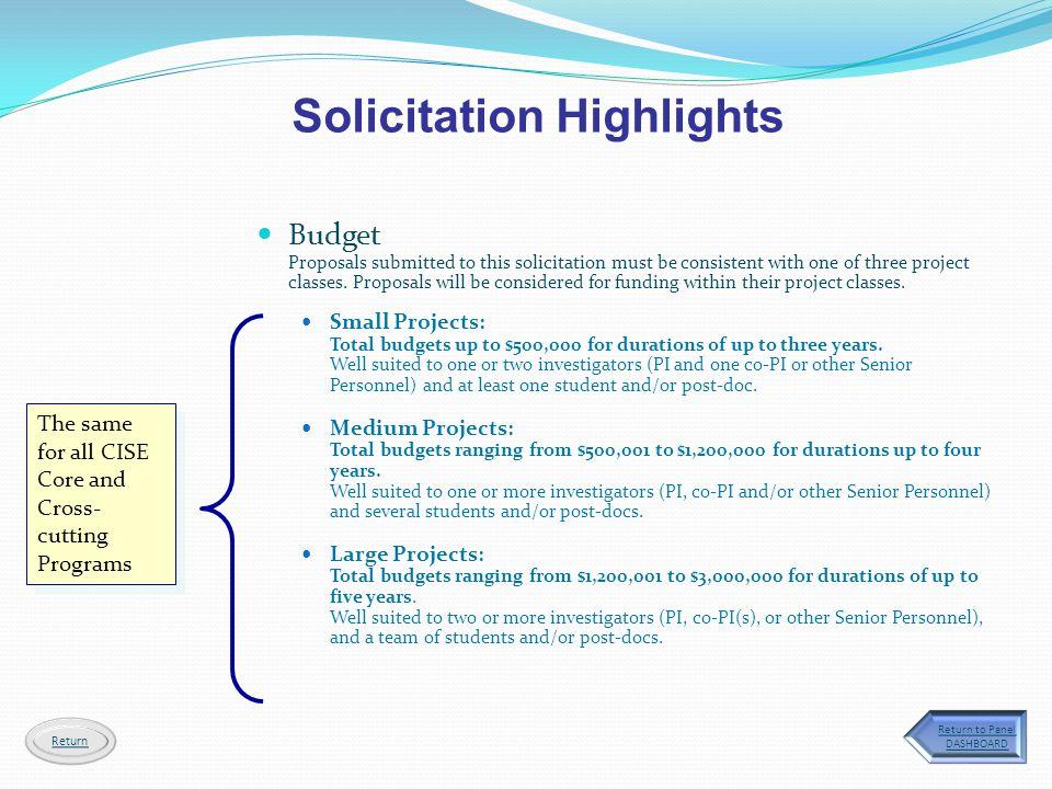Solicitation Highlights
