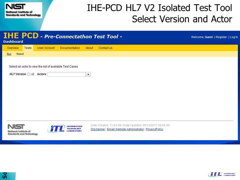 IHE-PCD HL7 V2 Isolated Test Tool Select Version and Actor