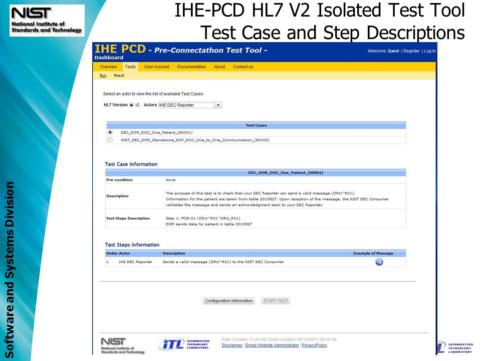 IHE-PCD HL7 V2 Isolated Test Tool Test Case and Step Descriptions
