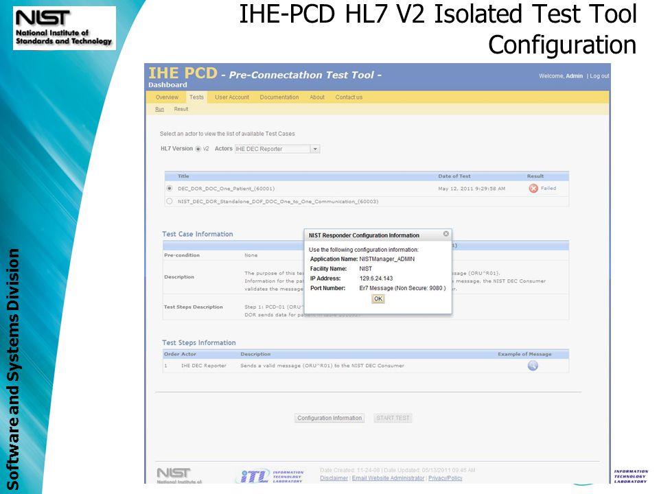 IHE-PCD HL7 V2 Isolated Test Tool Configuration