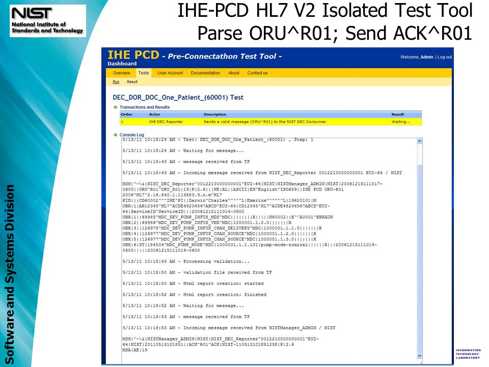 IHE-PCD HL7 V2 Isolated Test Tool Parse ORU^R01; Send ACK^R01