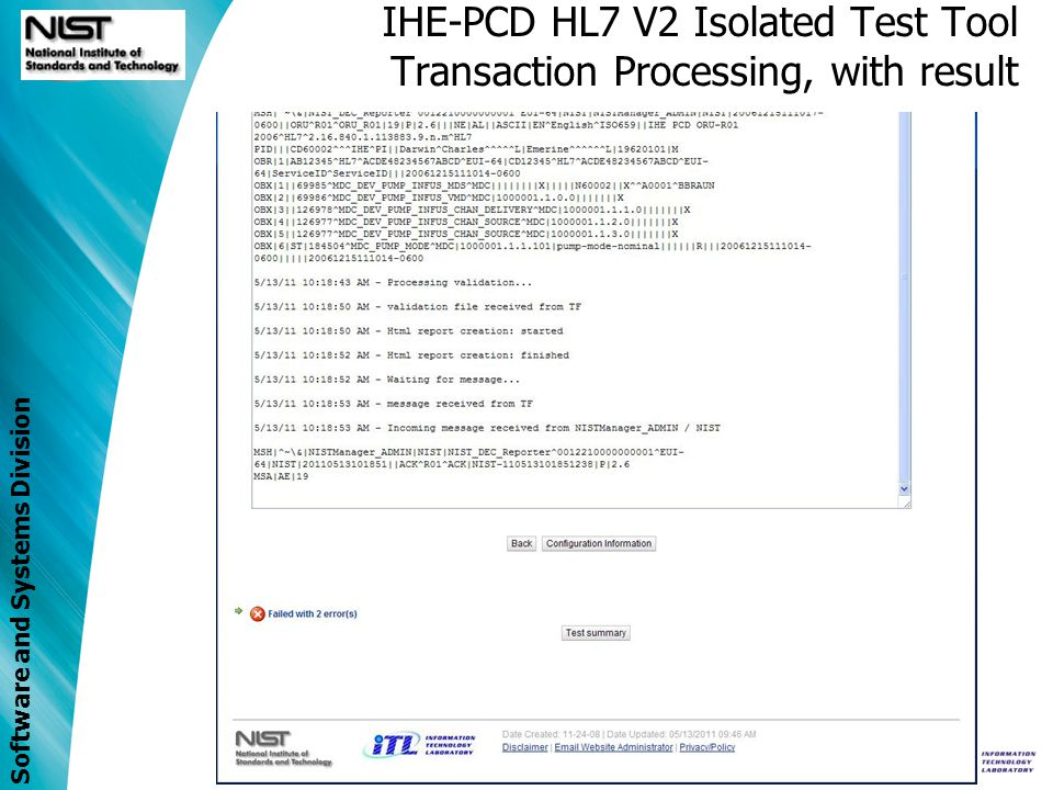 IHE-PCD HL7 V2 Isolated Test Tool Transaction Processing, with result