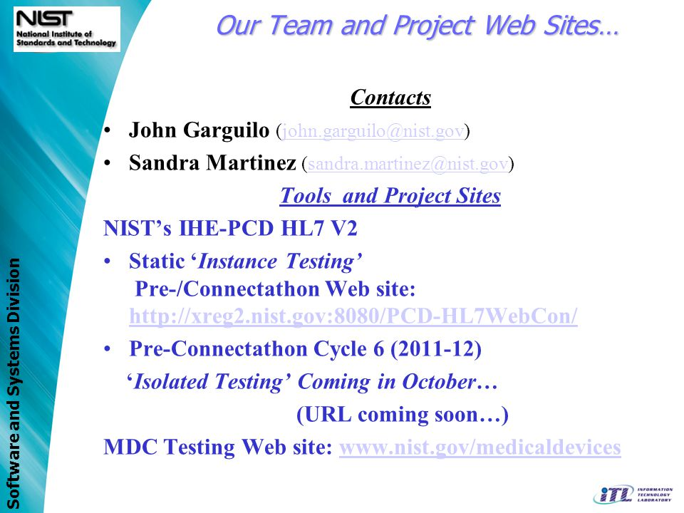 Our Team and Project Web Sites…