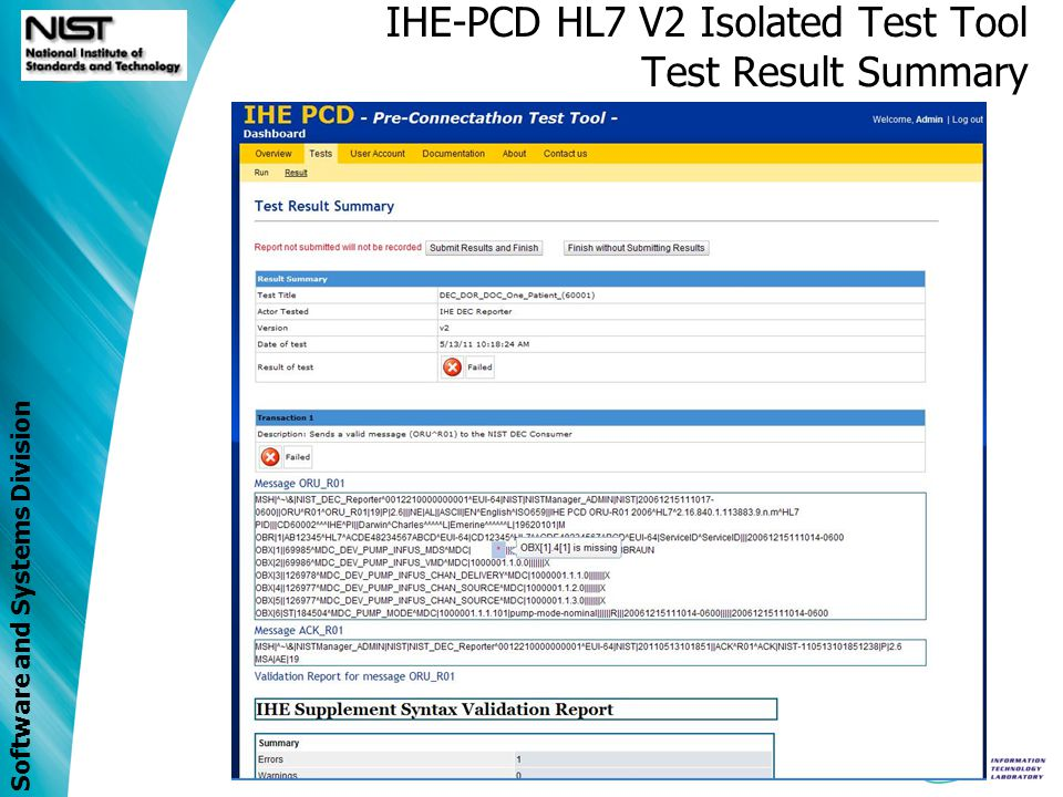 IHE-PCD HL7 V2 Isolated Test Tool Test Result Summary