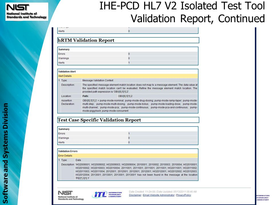 IHE-PCD HL7 V2 Isolated Test Tool Validation Report, Continued
