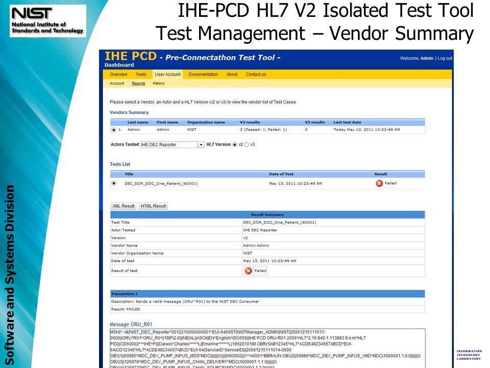 IHE-PCD HL7 V2 Isolated Test Tool Test Management – Vendor Summary