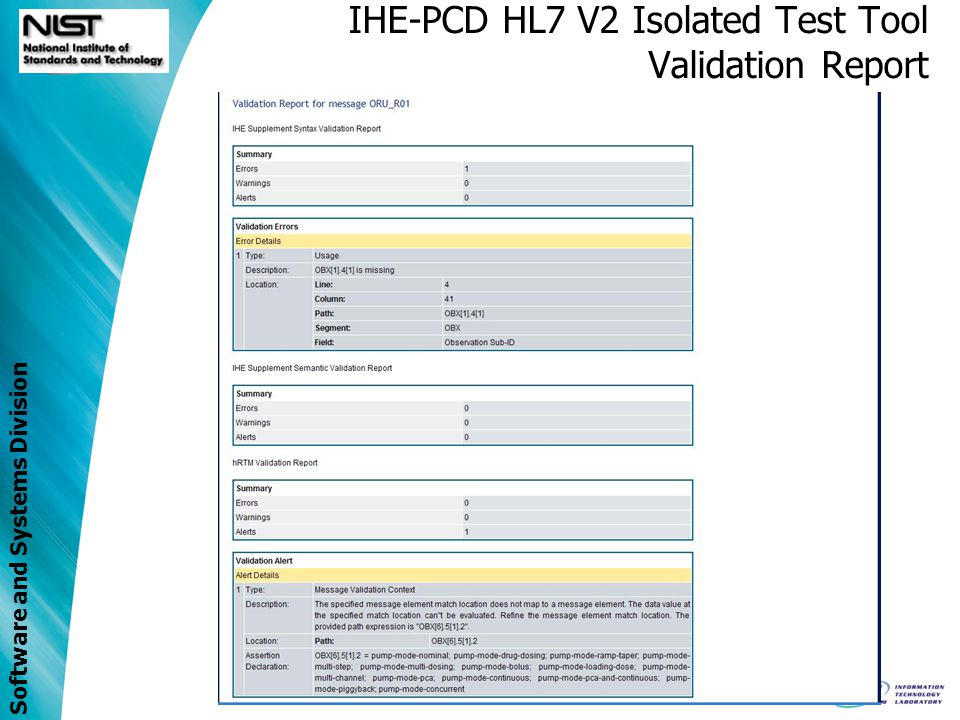 IHE-PCD HL7 V2 Isolated Test Tool Validation Report