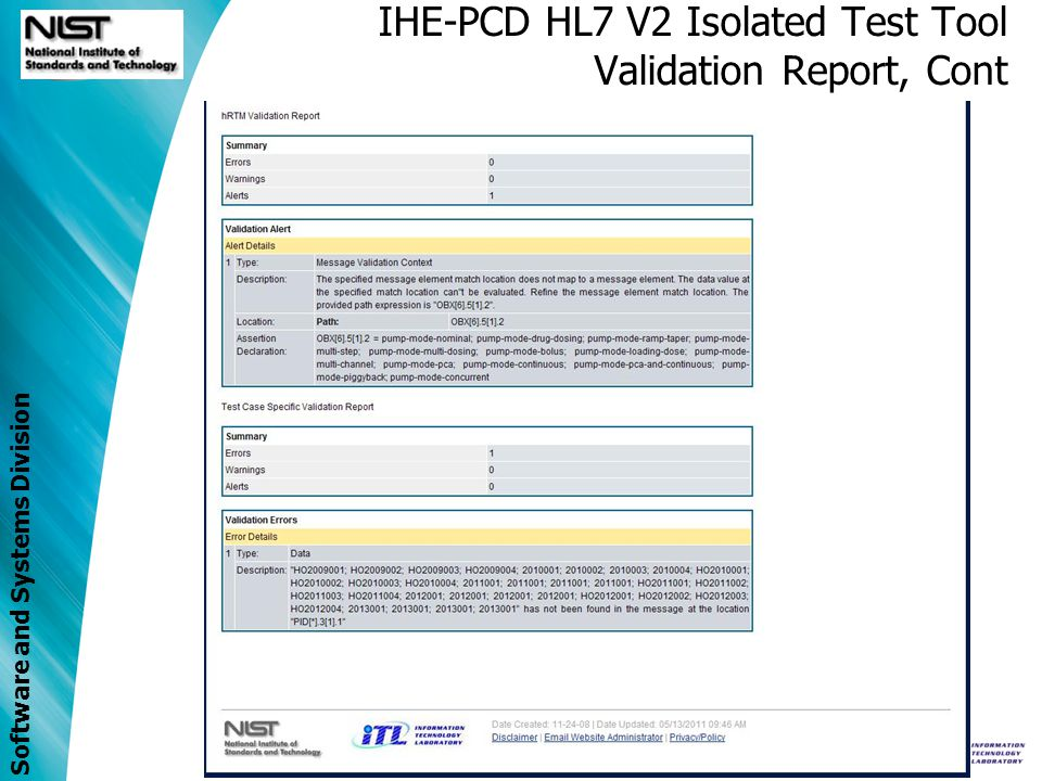 IHE-PCD HL7 V2 Isolated Test Tool Validation Report, Cont