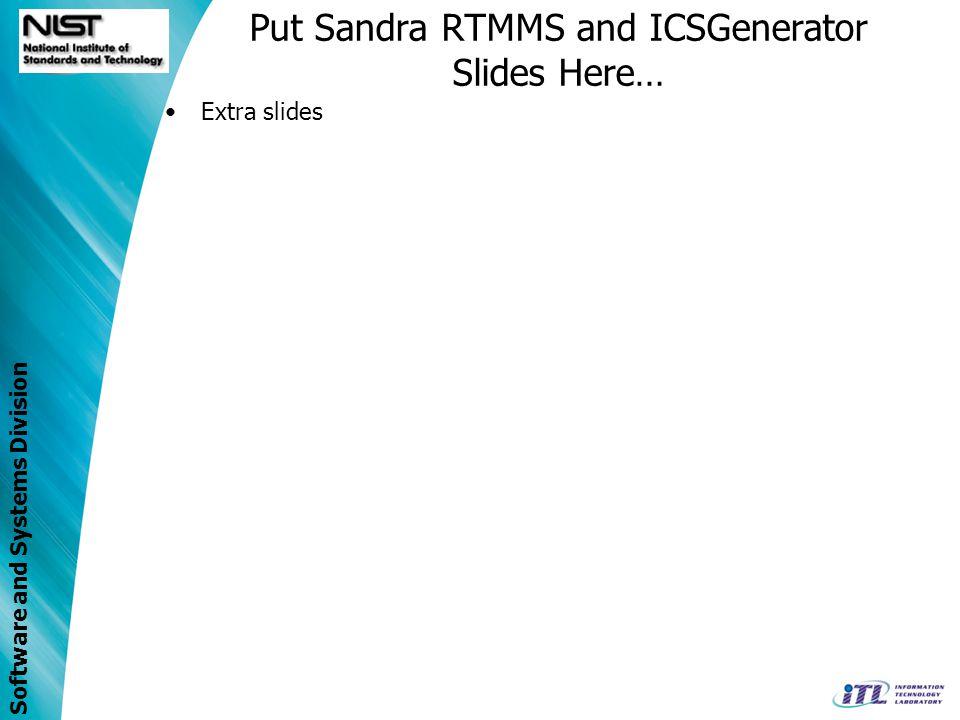 Put Sandra RTMMS and ICSGenerator Slides Here…