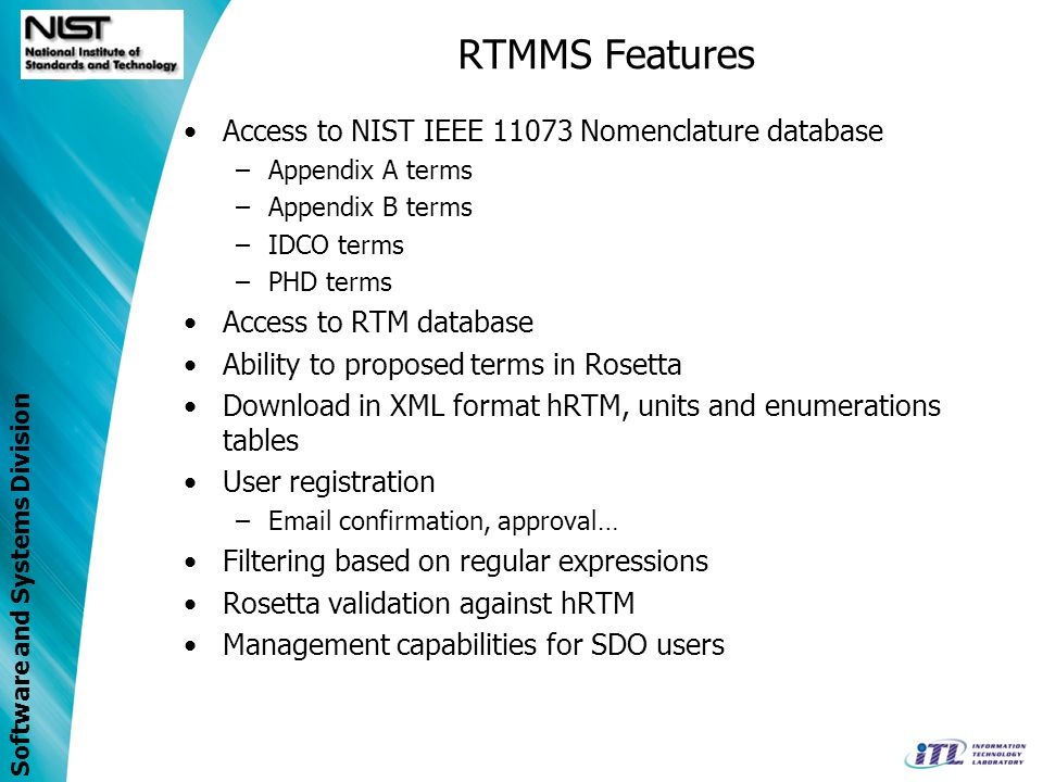 RTMMS Features Access to NIST IEEE 11073 Nomenclature database