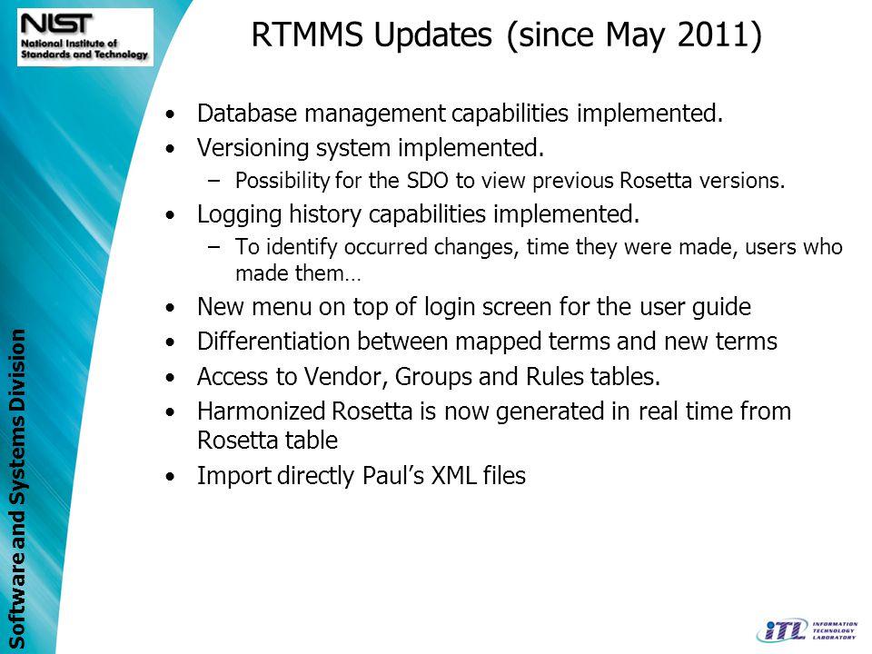 RTMMS Updates (since May 2011)