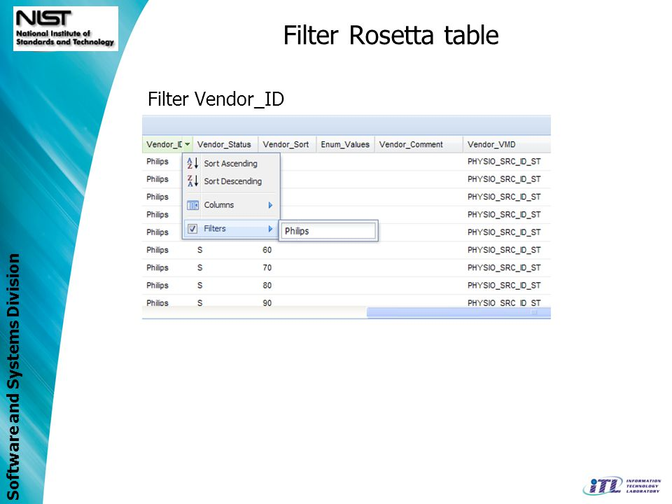 Filter Rosetta table Filter Vendor_ID