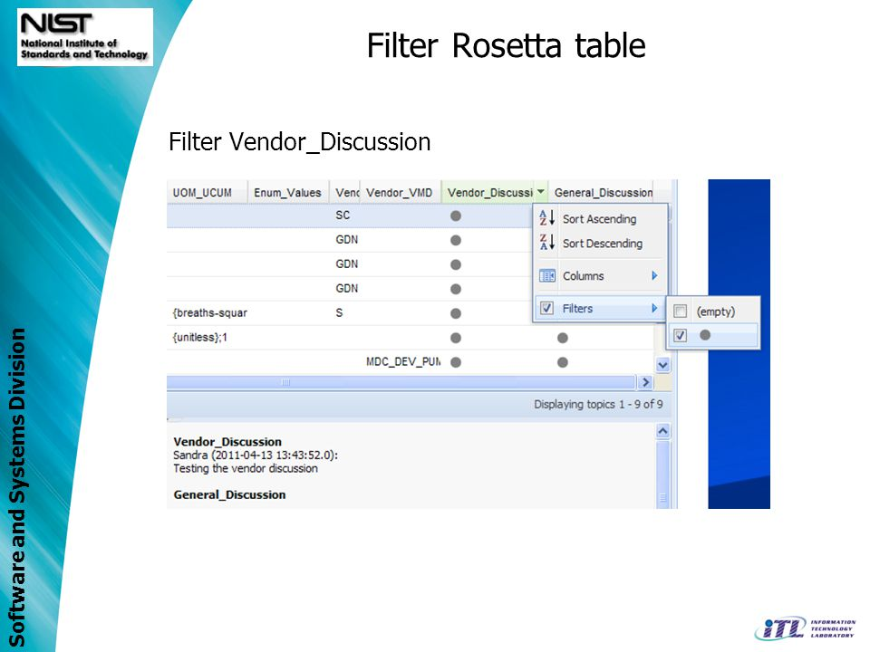 Filter Rosetta table Filter Vendor_Discussion