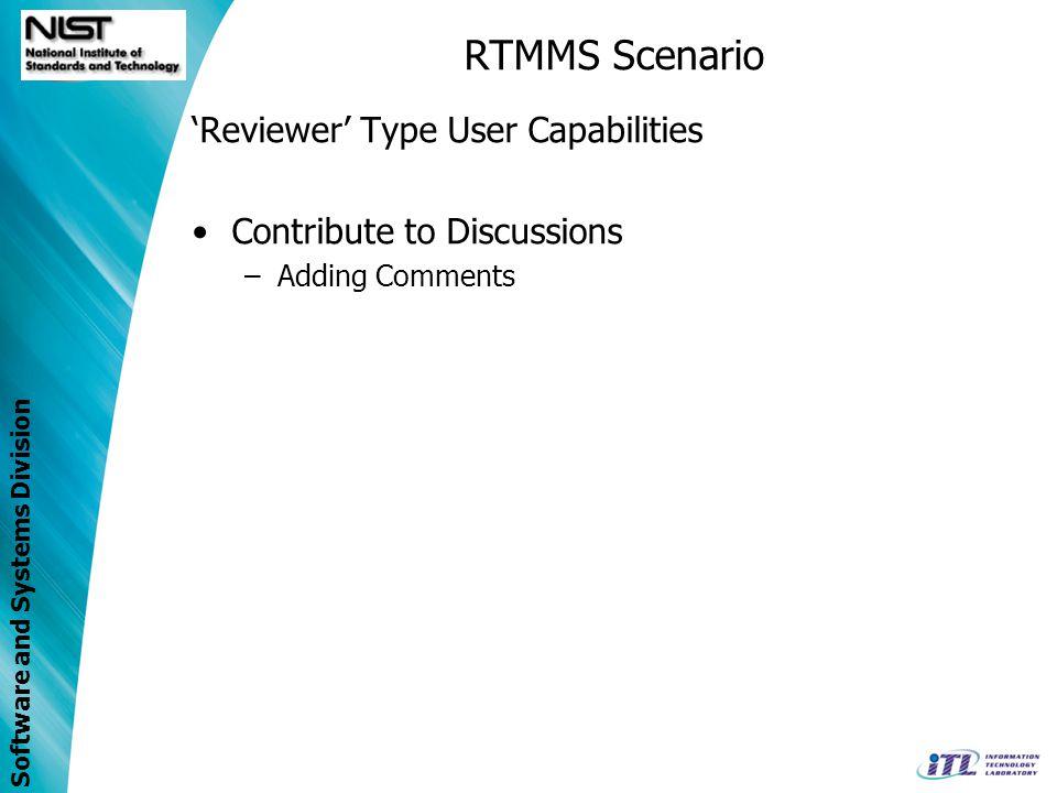 RTMMS Scenario 'Reviewer' Type User Capabilities