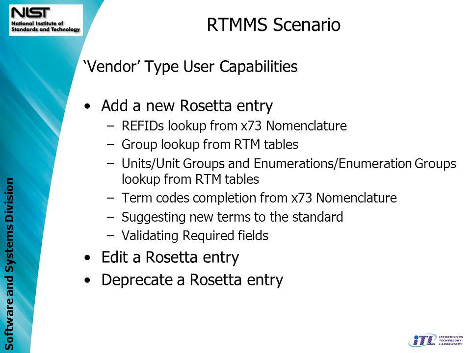 RTMMS Scenario 'Vendor' Type User Capabilities Add a new Rosetta entry