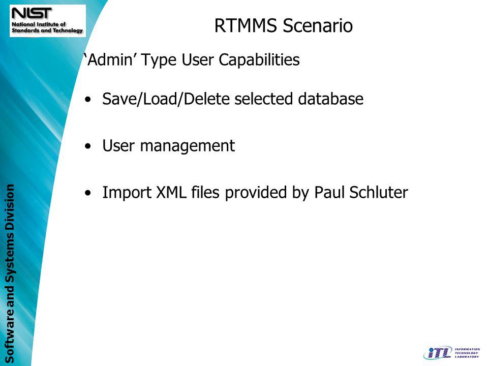 RTMMS Scenario 'Admin' Type User Capabilities