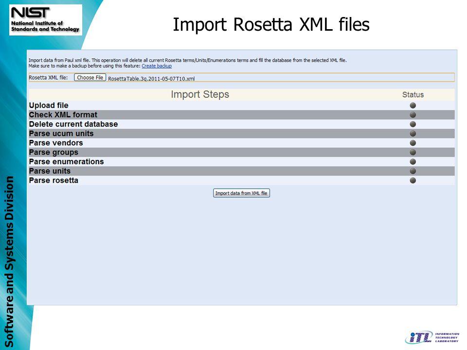 Import Rosetta XML files
