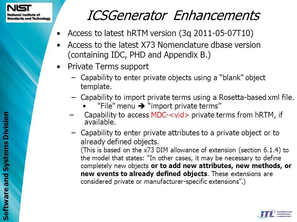 ICSGenerator Enhancements