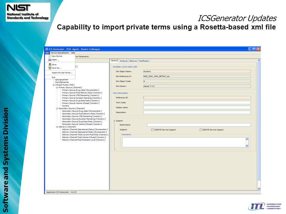 ICSGenerator Updates Capability to import private terms using a Rosetta-based xml file 69