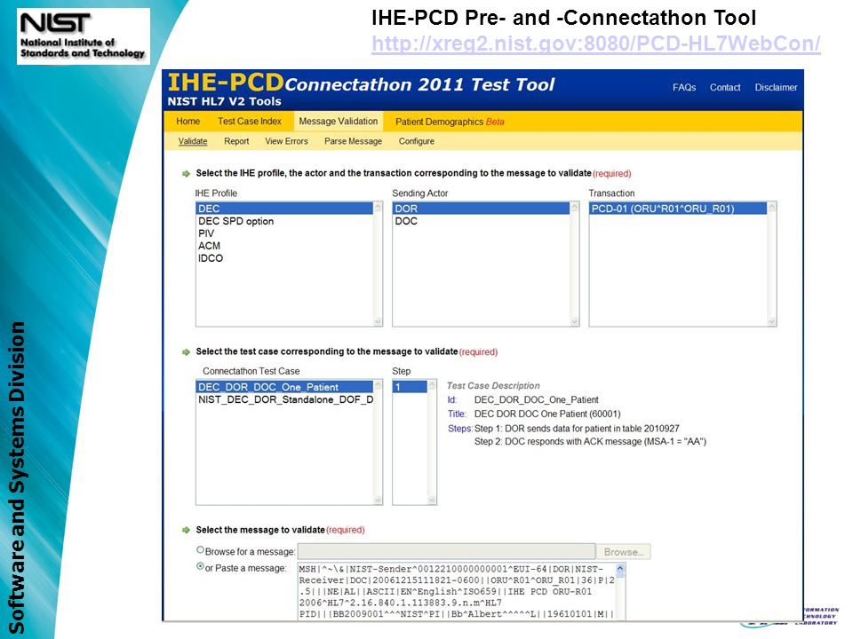 IHE-PCD Pre- and -Connectathon Tool