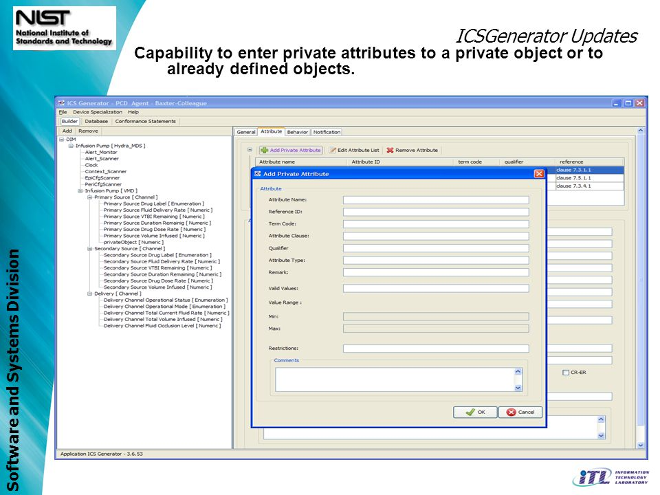 ICSGenerator Updates Capability to enter private attributes to a private object or to already defined objects.
